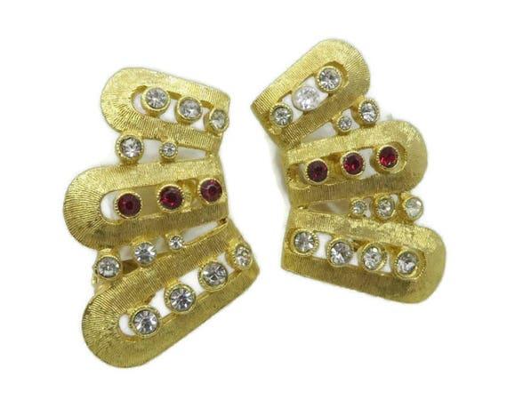 Hattie Carnegie Earrings Vintage Rhinestone Fan Clip on Earrings, Bridal Jewelry Formal Wear Gift Idea