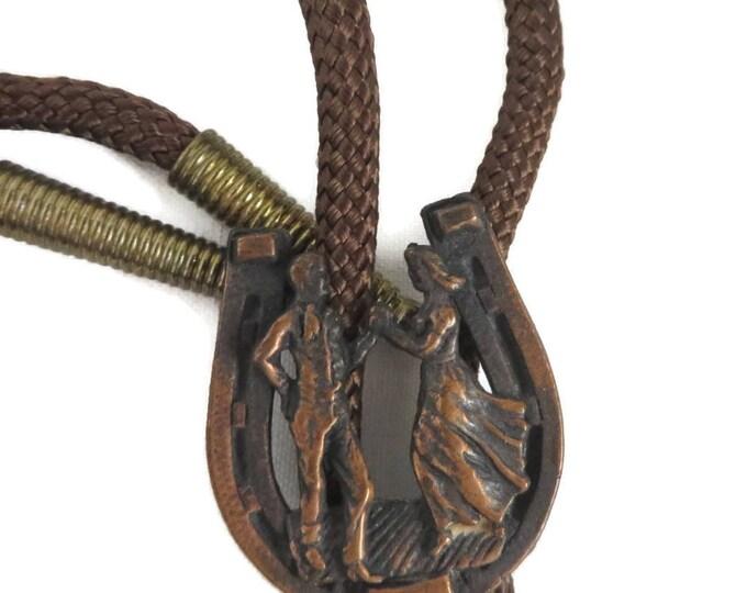 Square Dance Bolo, Vintage Western Tie, Brown Bolo Tie, Dancing Couple Pendant