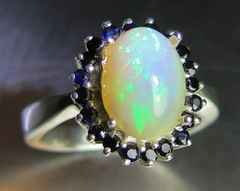 1.80ct Natural Welo Opal & blue sapphires Sterling 925 silver engagement ring (available in gold, Platinum, Palladium) all sizes