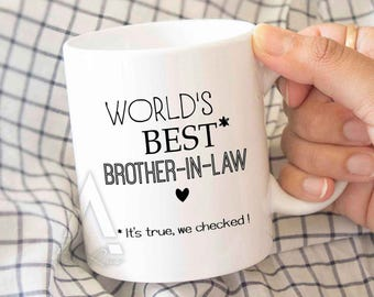"gifts for brother in law, gifts for in laws ""World's best brother in law""coffee mug, birthday gift for brother in law mug,wedding gift MU509"
