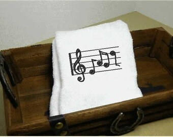 Musical Notes Hand Towel, embroidered towel, bathroom decor, bath hand towels, bath decor, kitchen towel, kitchen and dining,