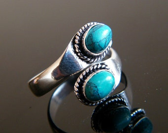 Turquoise Ring, Silver Plated Ring, Adjustable Ring, Two Stone Ring, Gift For Her, Boho Chic Ring, Ring size - 8 - Adjustable SH-2635(A)