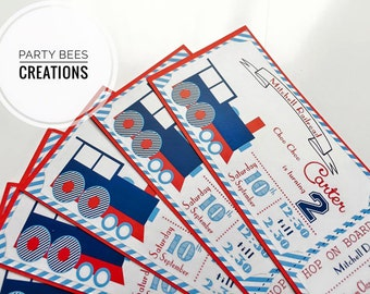 Choo Choo Train ticket party invitation set of 12