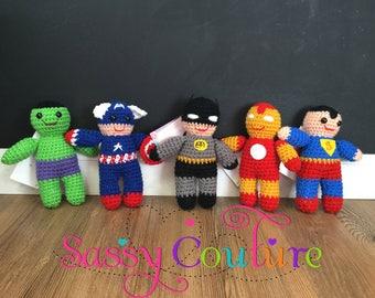 Crochet superhero dolls, superhero dolls, handmade, boys superheros