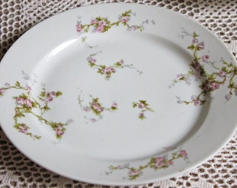 Antique Limoges Redon Bread Plate Replacement. Tiny Pink Roses and Leaves Pattern. Fine French Porcelain Table Ware Replacement.