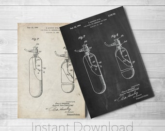 Oxygen Tank Printables, Nautical Wall Decor, SCUBA Diving, Medical Art, PP0981