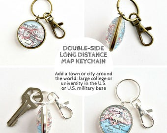 Distance Keychain / Best Friend Long Distance / Long Distance Friendship Gift / Best Friend Moving Away Gift / Going Away Gift for Coworker