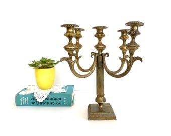 Mid Century Brass Candelabra - 5 arm - Hollywood Regency - Candle Holder