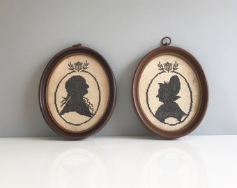 Embroidered Silhouette Wall Hangings on Linen