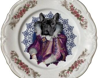 Lady Blondie - French Bulldog - Vintage Porcelain Plate - #0405