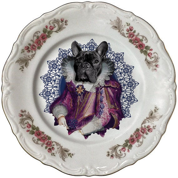 Lady Blondie - French Bulldog - Vintage Porcelain Plate - #0405