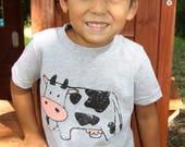 KIDS Cow T-shirt, Size XS-XL
