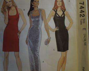 McCalls 7442, sizes 14-18, dress, UNCUT sewing pattern, craft supplies