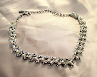 Vintage Charel Faux Pearl and Rhinestone Choker