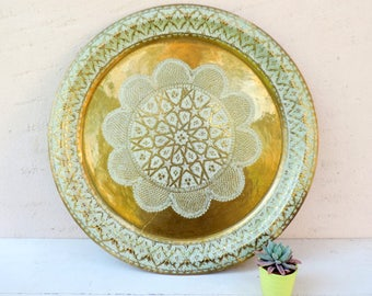 Vintage Moroccan Tray/Vintage Serving Tray/ Vintage Brass Serving Tray/Large Brass Tray/Large Brass Moroccan Tray/Moroccan Tea Tray
