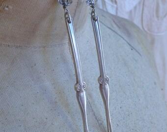 Engraved Herkimer Spike Earrings