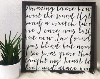 Amazing Grace lyrics - sign