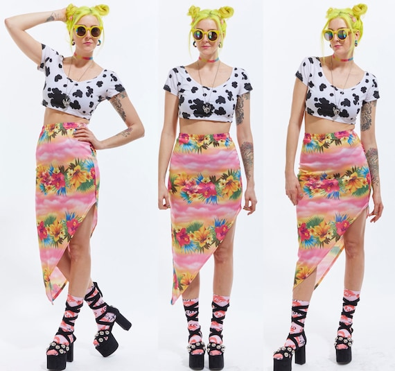 Vtg 90s Kawaii Tropical Print RESORT Fishtail ASYMMETRICAL Midi Hi-Low SKIRT Bandage Pinup Bodycon Club Kid Raver Sea Punk Cyber Pastel goth