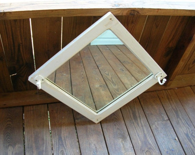 Vintage Mirror Hat Rack White Diamond Recycled Upcycled Shabby Cottage