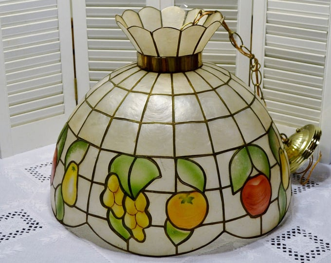 Vintage Capiz Shell Chandelier  Hanging Light Fruit Design Large Size  PanchosPorch