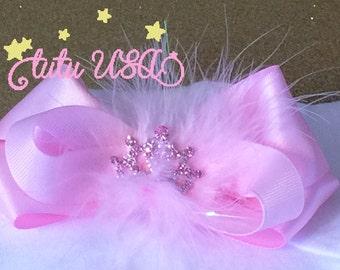 Pink Princess Bow,Pink Tiara Bow,Princess Headband Bow,Princess Hair Bow, Couture Pink Bow,Posh Pink Bow,Newborn Princess Bow,Photo Prop Bow