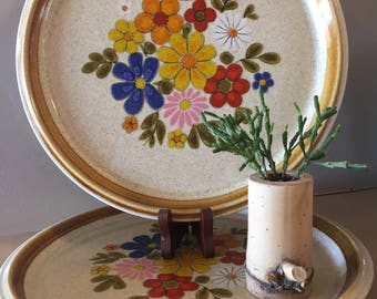 2 Groovy Vintage Mikasa Dinner Plates- Floribunda Pattern | 1970's | Flowers, floral, Spring, Summer, Picnic, DIY Wedding, Housewarming