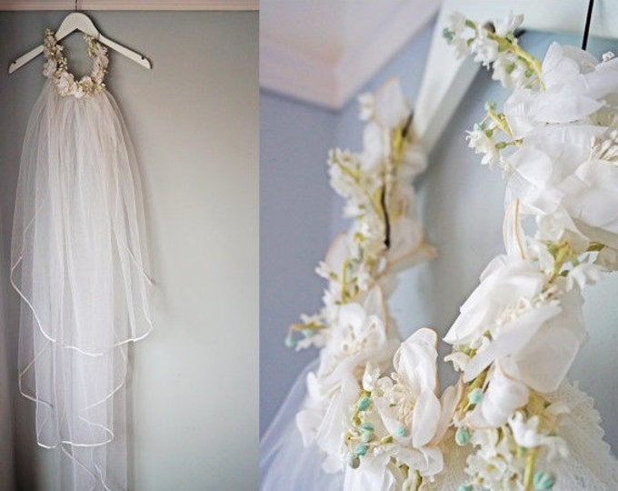 White Bridal Veil, Vintage Boho Flower Crown Veil, Long White Veil, Floral Veil, Wedding Veil, Floral Headband Crown 70s Long Veil Lace Veil