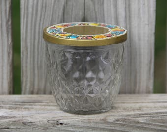 Vintage Ball Canning Jar with Tin Fruit Patterned Lid/Ball Jelly Jar Quilted Crystal/Vintage Kitchen
