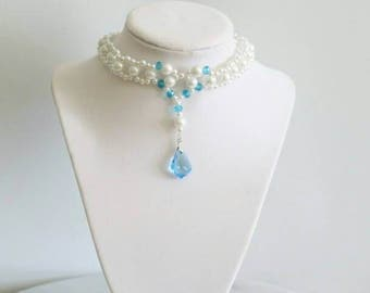 Bridal pearl choker necklace with crystal pendant something blue