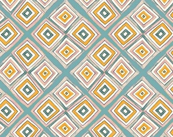 Half Yard Sunnyside - Argyle in Blue and Yellow - Geometric Cotton Quilt Fabric - by Sara Franklin for Windham Fabrics - 40662-5 (W3619)