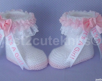 Hand Knitted Designer Baby Girl Booties Lots Of Lace Newborn Special Occasion Baby Shower Original Reborn Doll #73