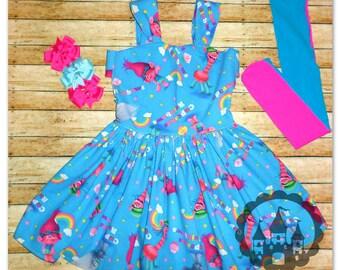 Trolls Birthday Dress, Poppy Troll Birthday Dress, Trolls Birthday Outfit, Princess Poppy Tutu, Trolls Cake Smash Dress Tutu, Rainbows Dress