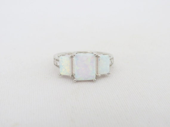 Vintage Sterling Silver Radiant cut White Opal & White Topaz Ring Size 7