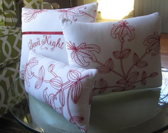 Redwork Pillows - White and Red Pillows - Redwork Embroidery Pillows