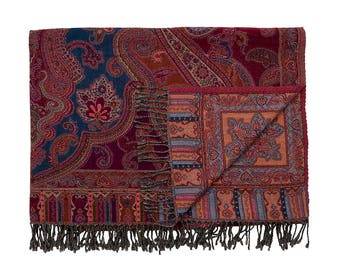 WOOLLEN THROW - Purple, Azure and Ochre. Reverse Sky Blue and Apricot. Hand made in Kashmir, India