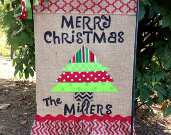 Christmas Garden Flag-Christmas Burlap Garden Flag-Christmas Tree Garden Flag -Personalized Flag-Burlap Christmas Flag-Merry Christmas Flag