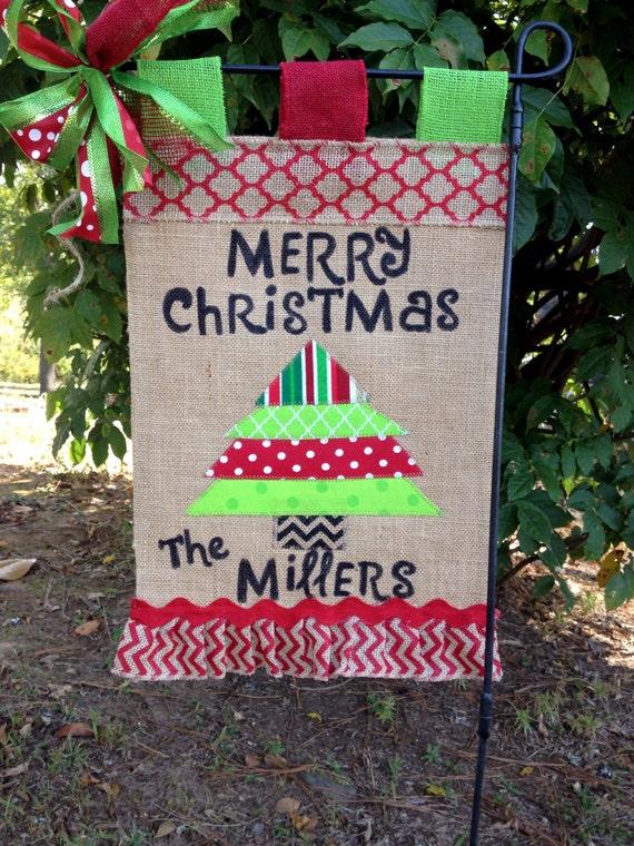 Christmas Garden Flag Christmas Burlap Garden Flag Christmas