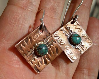 Stamped Copper and Turquoise Square Dangle Earrings