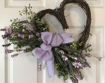 SPRING WREATH,Heart Grapevine Wreath, Valentine Wildflower Wreath,Wedding Wreaths ,Dorm Wreath,Wildflower Wreath,Summer Wreath