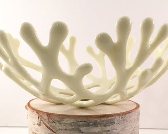 Fused Glass Branch Nest Coral Bowl