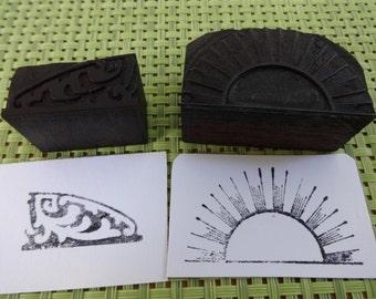 Old Vintage  / Antique? Letterpress Printing Block Rising Sun / Decoration Design