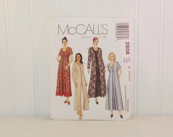 McCall's 2808 Misses' and Misses' Petite Duster and Dress (c. 2000) Misses' Size 20, 22, 24, Plus Size Dress and Duster, Full Figure Pattern