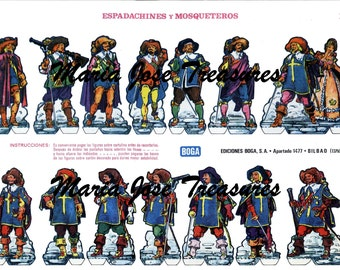 Vintage Musketeers Doll Cut Outs - Digital Download