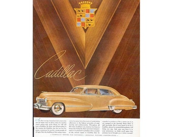 Vintage 1947 newspaper poster ad for Cadillac - 30