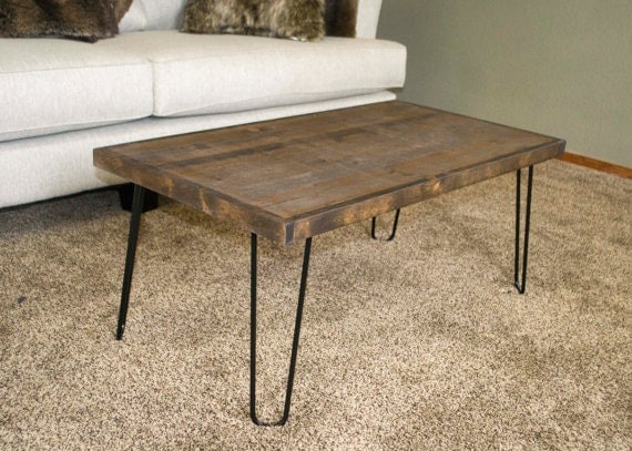 Rustic modern coffee table 24x48 custom table hairpin leg for Attaching hairpin legs