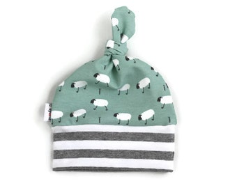 Baby boy hat-topknot hat-baby beanie-top knot baby hat-newborn baby hat-newborn hat-sheep baby hat-mint baby hat-going home hat-top knot hat