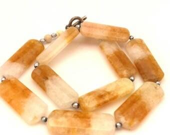 Sunshine White Yellow Citrine Genuine Huge Nuggets Beads Elegant Women Handmade Necklace