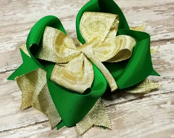 Gold and Green St. Patrick's Day Hairbow - OTT Shamrock Boutique Hair Bows - Irish Clover Bow Clip - Cute Clips - Girls Hairbows - Stacked