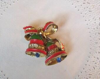 Christmas Brooch (28) - Vintage Christmas Brooch - Christmas Bells Brooch - vintage jewelry