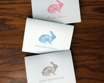 Bunny rabbit folded baby thank you cards, personalized baby stationery gender neutral nursery theme woodland nursery theme forest nursery